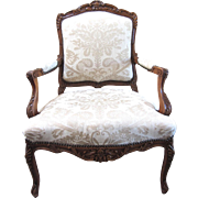 REDUCED Antique Carved French Arm Chair with Damask Upholstery