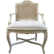 REDUCED French Carved Cane Back Arm Chair
