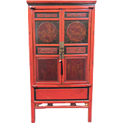 Antique Chinese Red Lacquer Cedar Wood Cabinet circa 1850