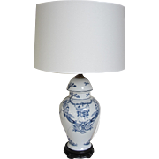 """Vintage Blue and White Toile  Urn Lamp 25""""Tall"""