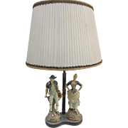 "Vintage Hand Painted French Maiden and Farmer Lamp 22""Tall"