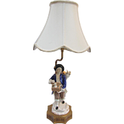 """Vintage Boy with Rabbits Ceramic Lamp -22""""Tall"""