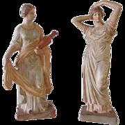 SOLD Vintage Pair of Terracotta Handpainted Maiden Figurines