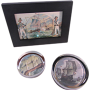 SALE Set of 2 Nigel Pain Nautical Paperweights and Art Trio