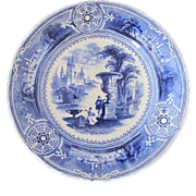 "SALE ""Grenada"" Antique Blue and White Transferware Plate- 9"""