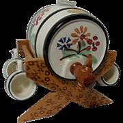 SALE Vintage Handerbeit Miniature Wine/Beer Barrel with Cradle and 4 Mugs