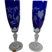 SOLD Two Vintage Nachtmann Cobalt Blue Cut to Clear Champagne Flutes