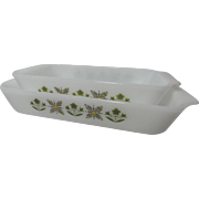 Vintage Fire-King Meadow Green Loaf Pan and Baker's Pan
