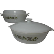 Vintage Fire-King Meadow Green Casserole Dishes