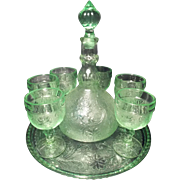 Vintage Tiara Indiana Sandwich Glass Chantilly Green Decanter and Wine Glasses