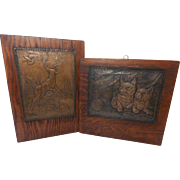 Vintage Hand-Made Embossed Copper Wall Hangings