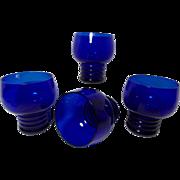 Vintage Louie Glass Plant Chico Marx Pattern Cobalt Blue Glasses