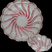 Vintage German Peppermint Swirl Lead Crystal Chip and Dip Set