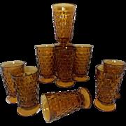Iconic Vintage Indiana Glass Amber Whitehall Tea Glasses (Set of 11)