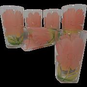 Vintage Set Federal Glass Hibiscus Flowers Juice Glasses (6)