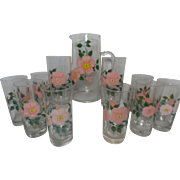 Franciscan Desert Rose Pitcher and Set of Ten Tumblers