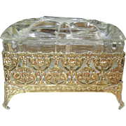 Vintage Gold-Tone Box with Glass Cover