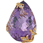 32ct Amethyst Designer Ring - Pear Shaped Amethyst in 18k Rose Gold with Diamond Detailing - .
