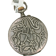 Very Rare French Art Nouveau 1890's Pocket Watch in Sterling Silver