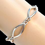 Vintage Modern Design Sterling Silver Linked Bracelet