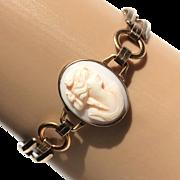 Vintage 1940s Engel Bros 10K GF Link Cameo Bracelet