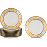 Gorgeous Set of Eleven William Guerin & Co. for Limoges China Dinner Plates, 9.75""