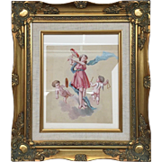 Beautiful 19th Century French School Drawing/ Painting Girl and Musical Cherubs Gilt Frame