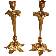 Antique Pair Gilt Bronze French Flora Design Art Nouveau Candleholders Candlesticks 9.5""