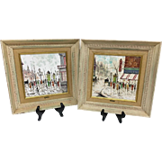 Adorable Vintage Pair Mid-Century 1950s Original Charles Nicoise Oil Paintings on Tile