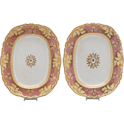 "Pair English Pottery Platters, 19th Century, 11"" x 9"""