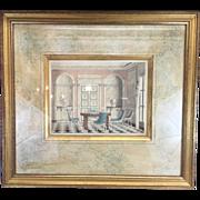 SOLD Beautiful 1930s Original Artist Interior Sketch Illustration Painting Drawing Watercolor