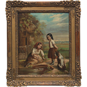 Girl Children and Dog at Play, Original Oil On Panel 18th - 19th Century, Jean-Augustin ...