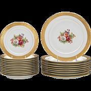 Large Set of Limoges M. Redon Porcelain Gilt Painted Plates 9 Dinner Plates, 12 Salad ...