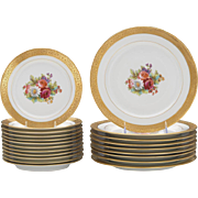 Large Set of Limoges M. Redon Porcelain Gilt Painted Plates 9 Dinner Plates, 12 Salad ...