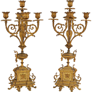Pair of French Gilt Bronze Ormolu Five Light Candelabra