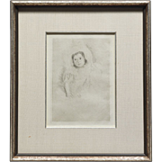 Mary Cassatt (American, 1845-1926) Drypoint Etching Matted and Framed in Silver