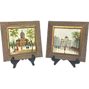 Vintage 1950s Pair Mid-Century Original Antonio DeVity Oil Paintings on Tile Framed
