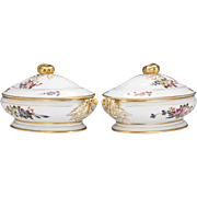 Paris Porcelain Pair of Tureens, 19th Century Floral Hand Painted with Gilt Paint