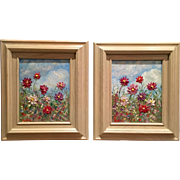 Pair Wild Flower Paintings Original Oil Paintings in White Washed Wood Frames