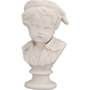 White Parian Bust of Small Boy Child Sculpture Statue Figurine