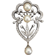 Stunning Large Deco Cultured Pearl and 0.80 cttw Diamond 14kt Gold Pin Brooch 14k