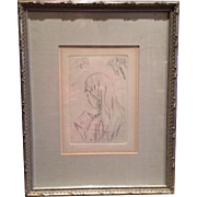"Lovely Pierre Bonnard ""Jeune Fille Lisant"" Etching 1965 Edition Framed"