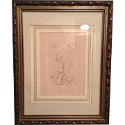 "Large Pierre Bonnard ""Jeune Fille Lisant"" Etching 1965 Edition Lovely Gilt Silver Ca"