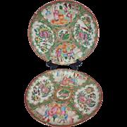 Wonderful Antique Pair 19th Century Soft Colors Rose Medallion Famille Rose Plates