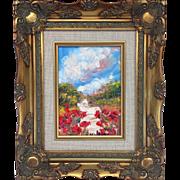 "French Poppies Landscape Original Oil Painting by Artist Sarah Kadlic, 5x7"" Gilt Wood Fra"