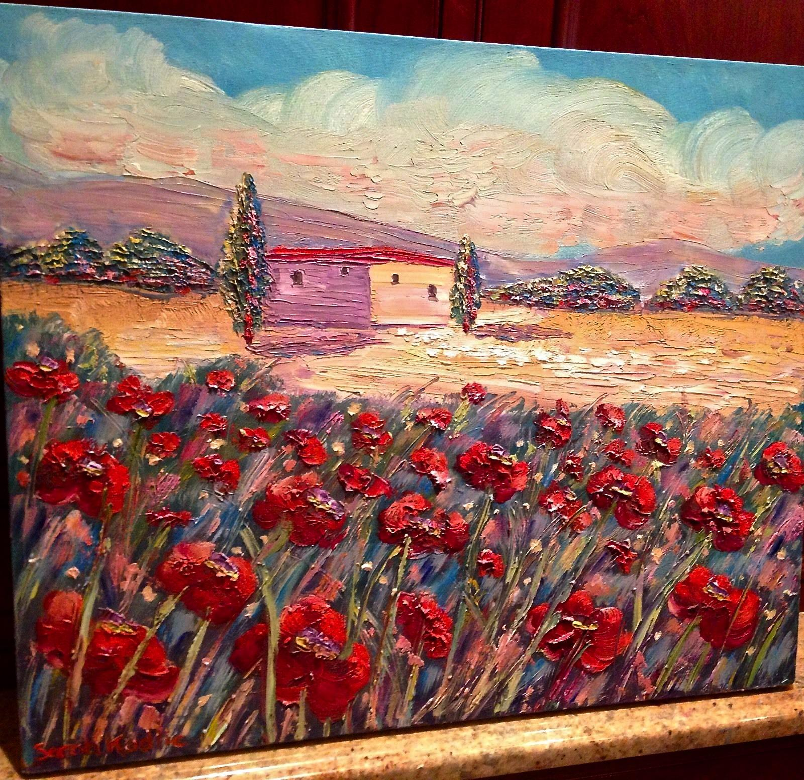 Tuscan Italy Red Poppies Italian Landscape Original Oil