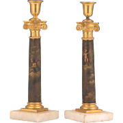 Lovely Pair of Antique Gilt Metal Cherub Decoupage Candlesticks, 19th Century