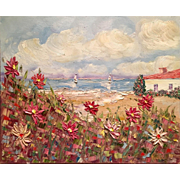 "Abstract Beach Seascape Wild Flowers Original Oil Painting by Artist Sarah Kadlic 24x20"""