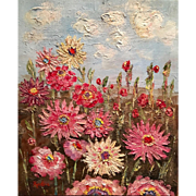 Abstract Vertical Floral Wildflowers Original Oil Painting 24x20