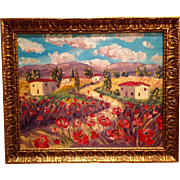 Tuscany Italy Red Poppies Original Oil Painting 30x24 Chunky Gold Gilt Frame